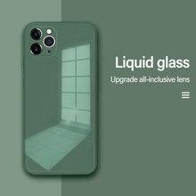 Proteção quadrada original silicone líquido temperado caso de vidro para iphone 11 12 mini pro max xs xr x 7 8 plus se telefone coque