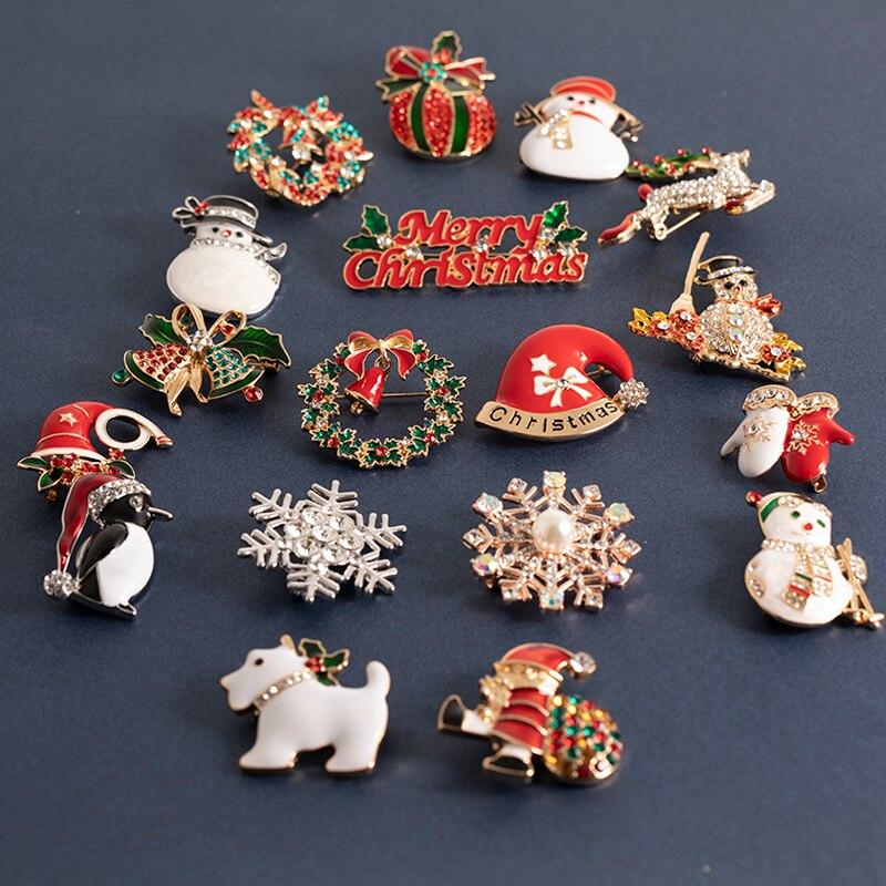Рождественские броши-булавки, милые шапки деда мороза, снеговика, колокольчики, носки, пингвина, эмалированные значки, брошь для женщин, под...
