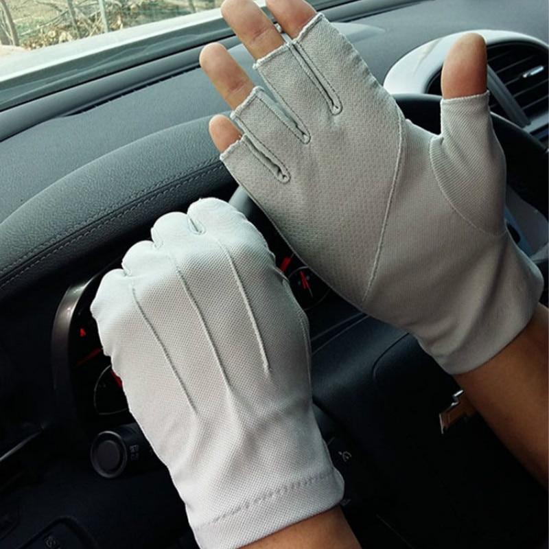 2019 Men's Fingerless Anti-Slip Driving Gloves Women Sun Protection Gloves Summer Male Thin Breathable Anti-UV Cycling Gloves
