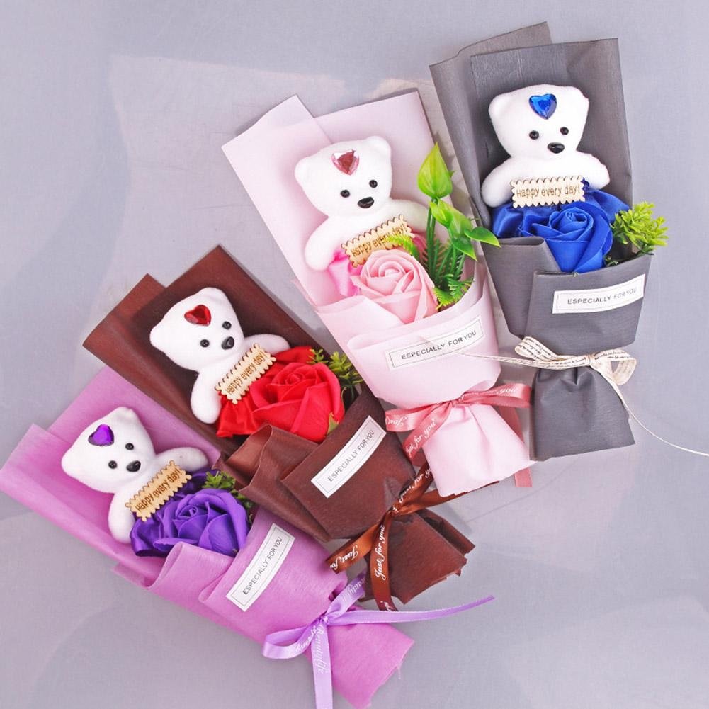 Handmade Artificial Soap Rose Flower Bear Doll Valentine Day Gift Party Decor Richin Germicidal Ingredients To Effectively Clean