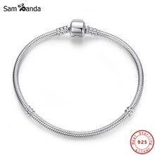 Bracelet à breloques cœur en argent Sterling 100% 925, Original, chaîne de perles, flocon de neige, roses, serpent, bijoux à bricoler soi même