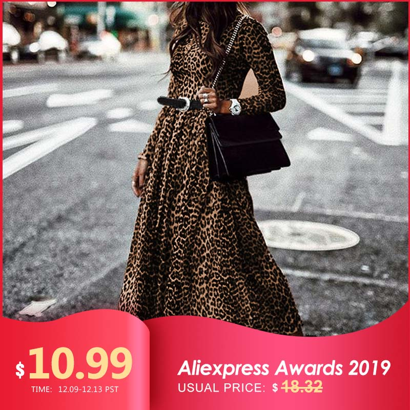 Women's Dress Fashion Ladies Retro Leopard Print Dresses 2019 Celmia Round Neck Long Sleeve Casual Pleated Maxi Vestidos S-5XL
