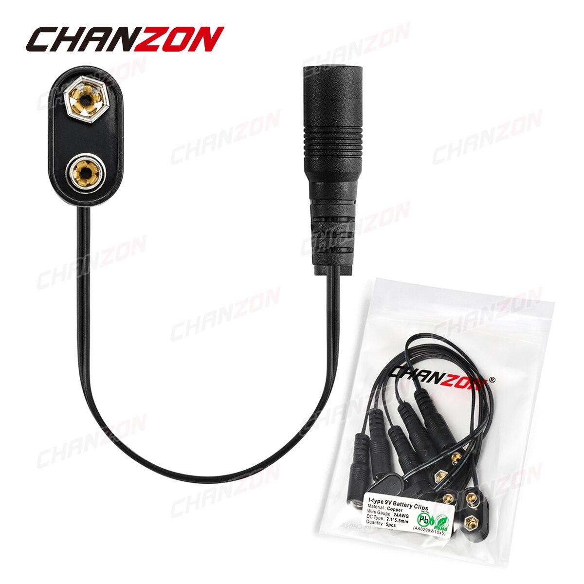 5 uds 9 V alimentación de la batería DC conector hembra Clip Adaptador 9 V soporte para cables Cable 9 voltios enchufe de plomo barril para guitarra