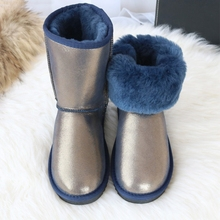 BLIVTIAE/Luxury Sheepskin Snow Boots Women Natural Fur Genuine Leather Middle Calf Classic Tube Winter Wool Sheepfur