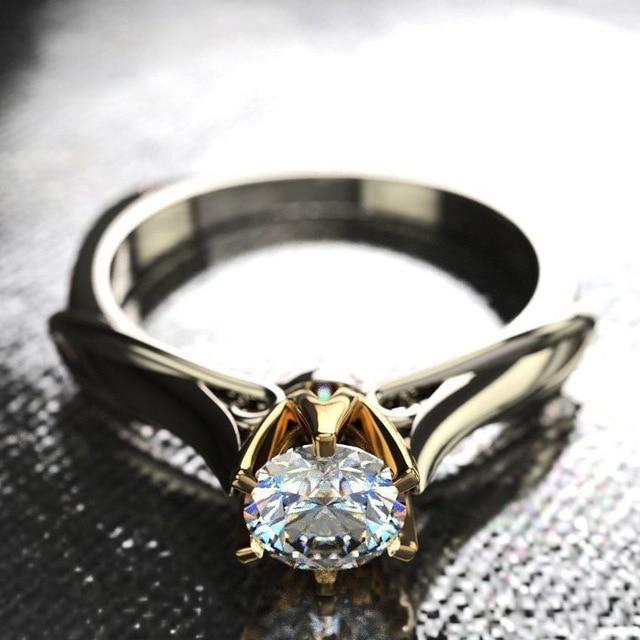 18K Multi Gold Ring for Women Natural 1 Carat Diamond with Diamond Jewelry Anillos De Bizuteria Anillos Mujer Gemstone Rings Box 3