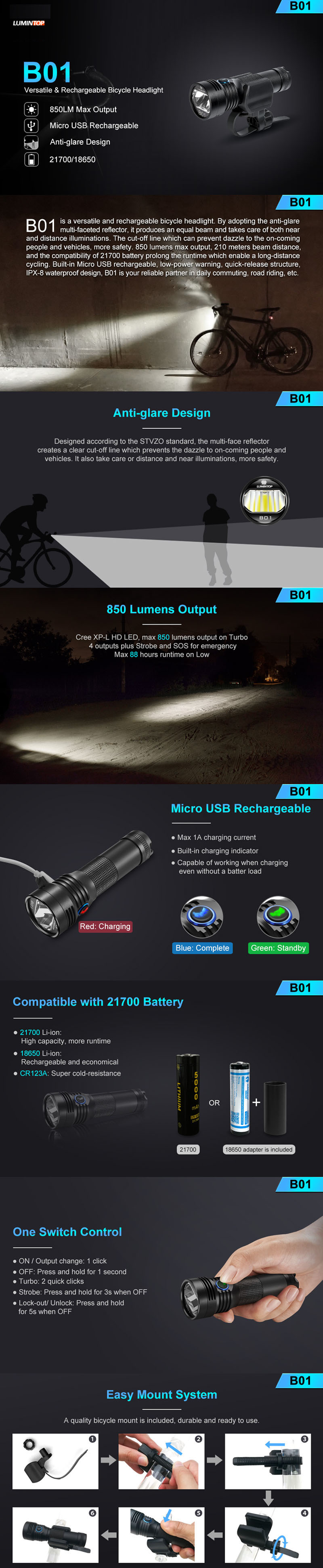 Lumintop BO1 Bike Light 850 lm CREE XP-l HD 18650//21700 Batterie Incluse