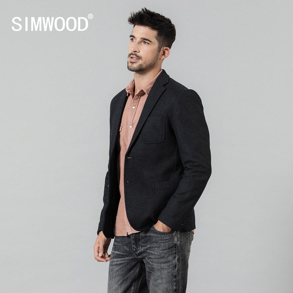 SIMWOOD 2019 Autumn Winter New Blazer Men Wool Blends Jackets Men High Quality Brand Clothing