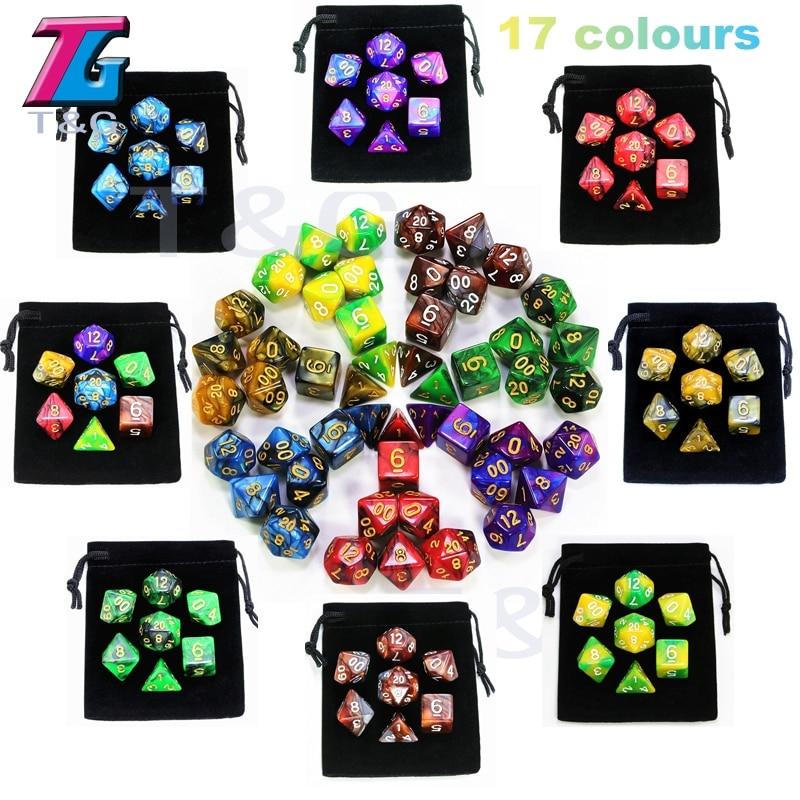 7pcs Promotion 2-color Dice Set Nebula effect poker DnD d4,d6,d8,d10,d%,d12,d20 Polyhedral Dice, rpg game dice with bag(China)