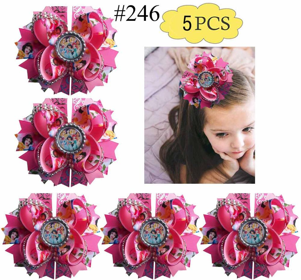4 inch SPARKLE GLITTER HAIR BOW GIRLS HAIR CLIP winter Red Star