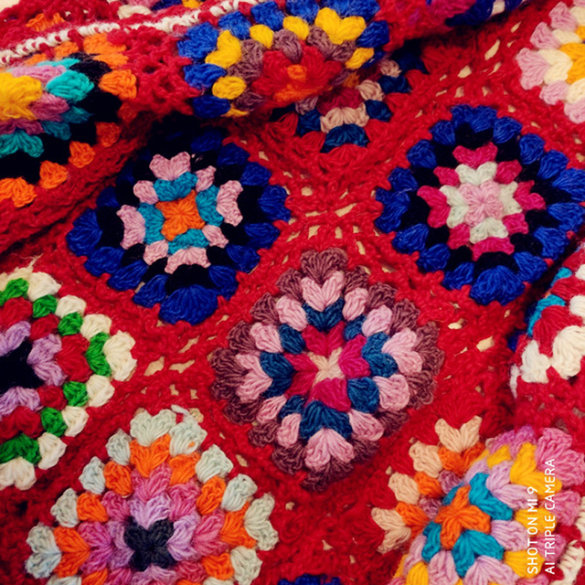 Nepalese Hand-Made Wool Hippie Crochet Box Stitching Ethnic Sweater Red Fringe Cardigan Long Coat 6