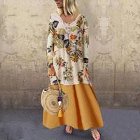 Plus size 5XL Linen Women Long Dresses Boho V neck Long Sleeve Patchwork Ethnic Autumn Winter Beach Female Stylish Style Dress