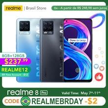 Realme 8 Pro Versão Global 8 GB 128 GB Câmera de 108 MP Supercarregador SuperDart de 50 W Suporta AMOLED B2/4 EU Carregador com Tomada