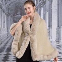 001 2# European and American Autumn & Winter Shawls Faux Rabbit Fur Collar Ladies Cloak Women Poncho