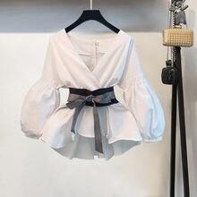 S-3XL elegante ol casual blusa feminina outono nova lanterna manga faixas arco com decote em v listrado/camisa branca blusas mujer de moda 2019