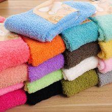 Womens Winter Fluffy Long Socks Thick Warm Coral Fleece Sleep Floor Candy Color