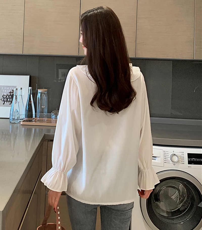 Mode coréenne en mousseline de soie femmes Blouses volants col en v manches évasées blanc femmes chemises de grande taille XXL Blusas Femininas Elegante