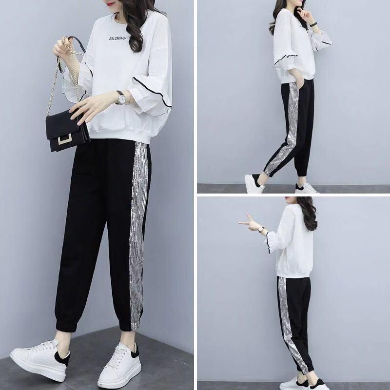 Loose Thin Fashion Two Piece Suit New Tracksuit Women Spring Autumn Leisure Sports Suit 2 Piece Set Plus Size Harem Pants Suits