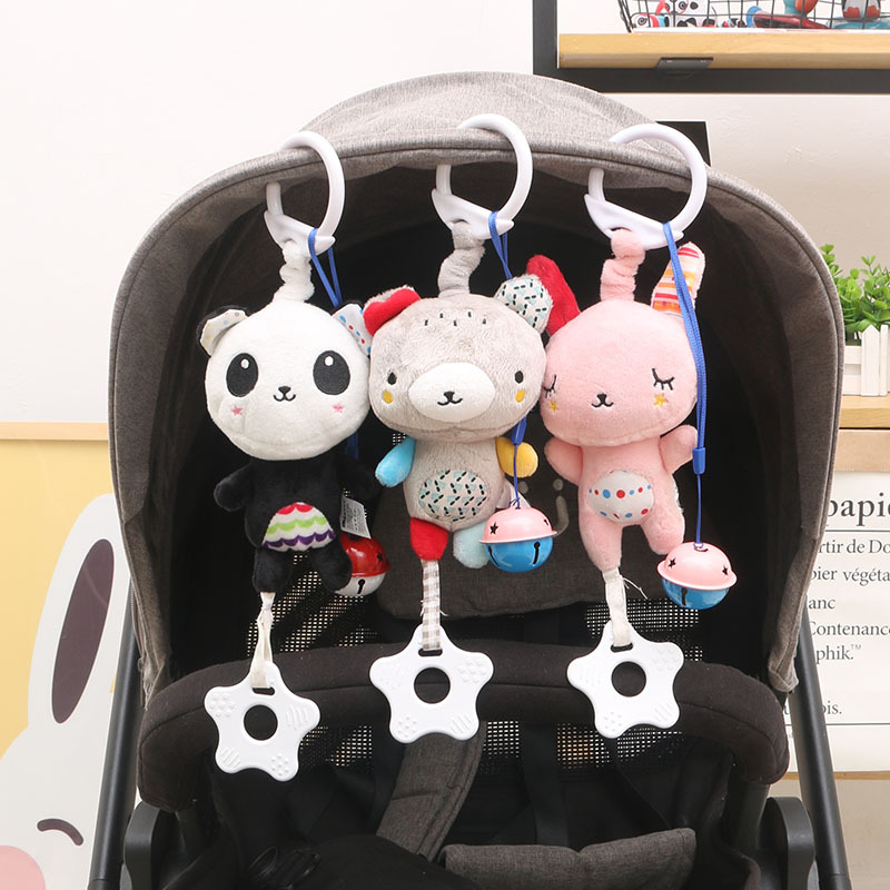 QWZ Newborn Baby Soft Plush Rattles Stroller Toys Baby Mobiles Cartoon Animal Hanging Bell Educational Baby Toys 0-12 Months