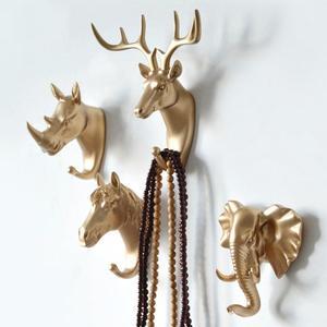 Fashion Animal Shaped Hooks Deer Stags Rhino Horse Hanger Home decor Hook Rack For Hat Holder Coat Wall Giraffe Head Elepha P7U3
