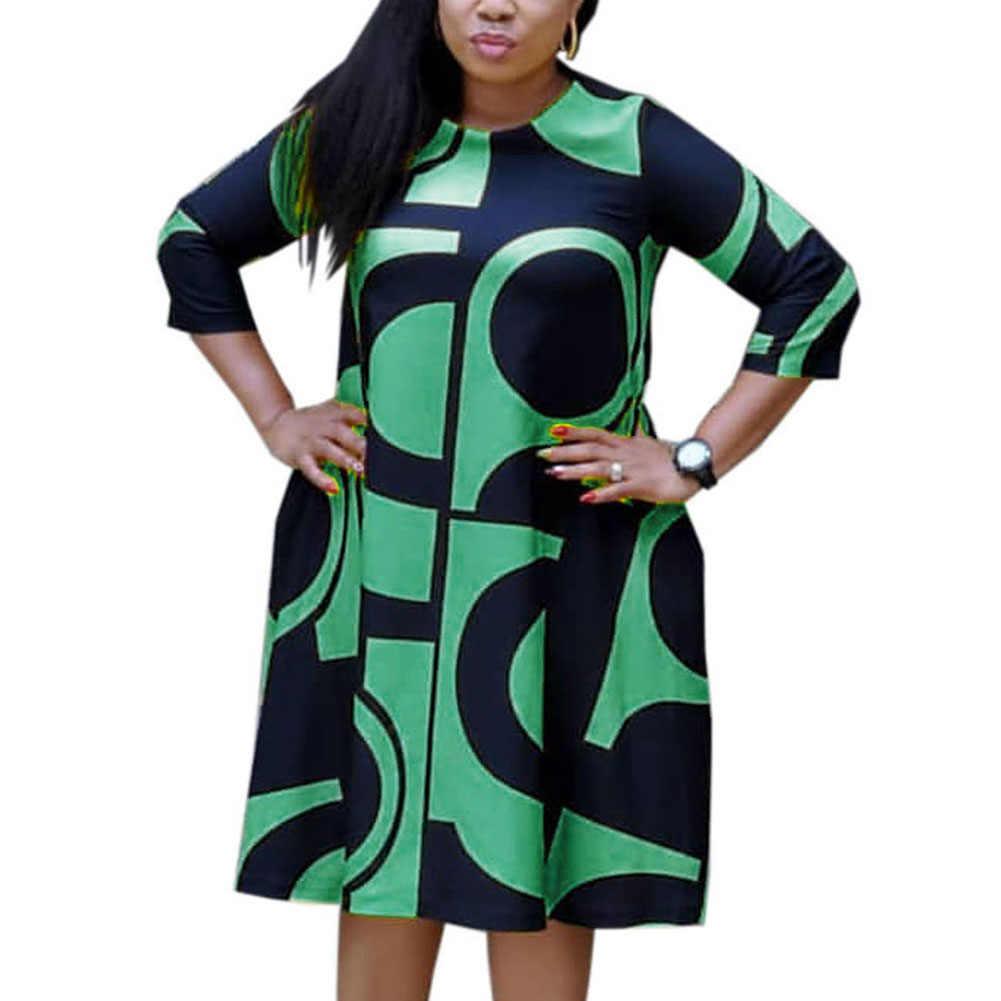 Fadzeco Nuovo Stile Africano Abbigliamento Donna Dashiki Mezza Manica Girocollo A-line Midi del Vestito Più Il Formato di Stampa Tribale Vestido