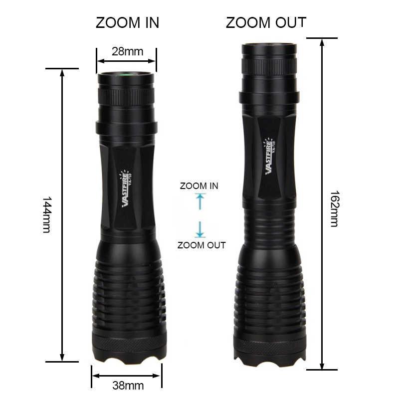 5000 Lumen lampe de poche LED vert Zoomable tactique chasse fusil lanterne extérieure Portable torche + 18650 + chargeur + interrupteur + Rfile Mount