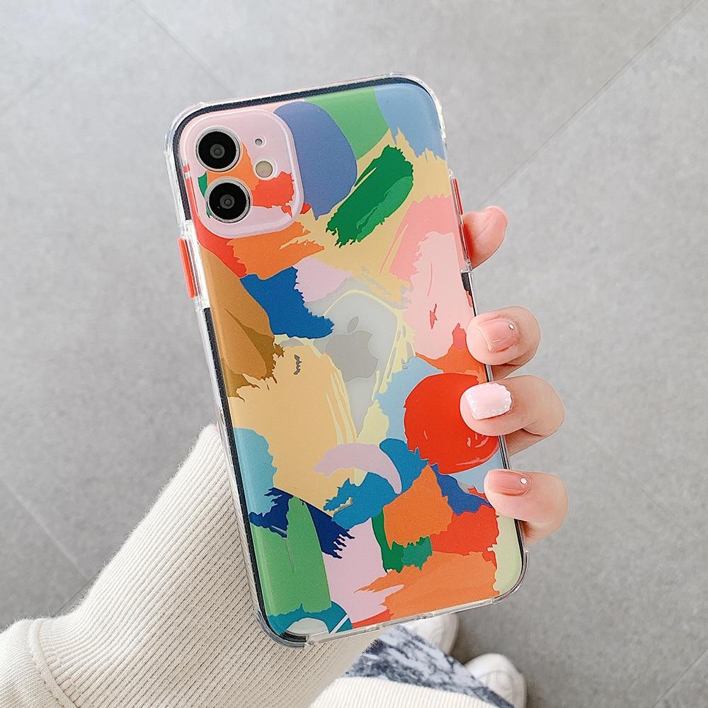 iPhone Case Graffiti Art Clear Phone Case Soft Shockproof Bumper Coque