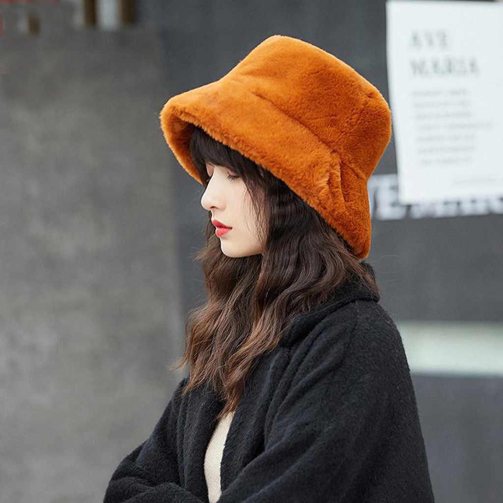 موضة فو الفراء الشتاء قبعة بحافة للنساء فتاة الصلبة سميكة لينة الدافئة قبعة الصيد في الهواء الطلق عطلة قبعة قبعة سيدة # P3
