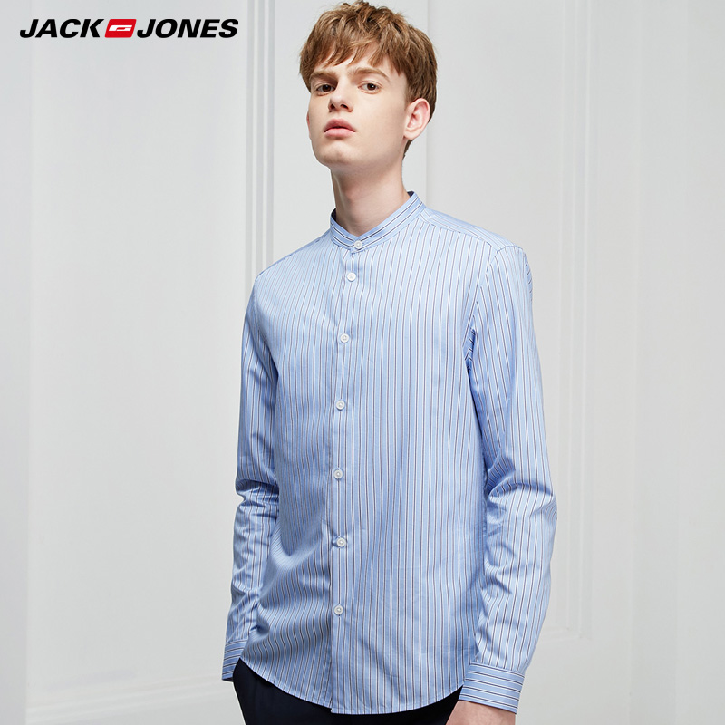 Jack Jones Stripe Round Neck Slim Long Sleeve Shirt|  219105533