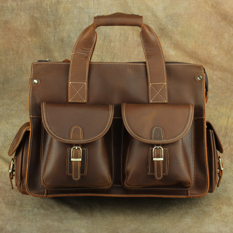 Nesitu Vintage A4 Brown Genuine Crazy Horse Leather Office 14'' Laptop Men Briefcase Portfolio Business Messenger Bag M003