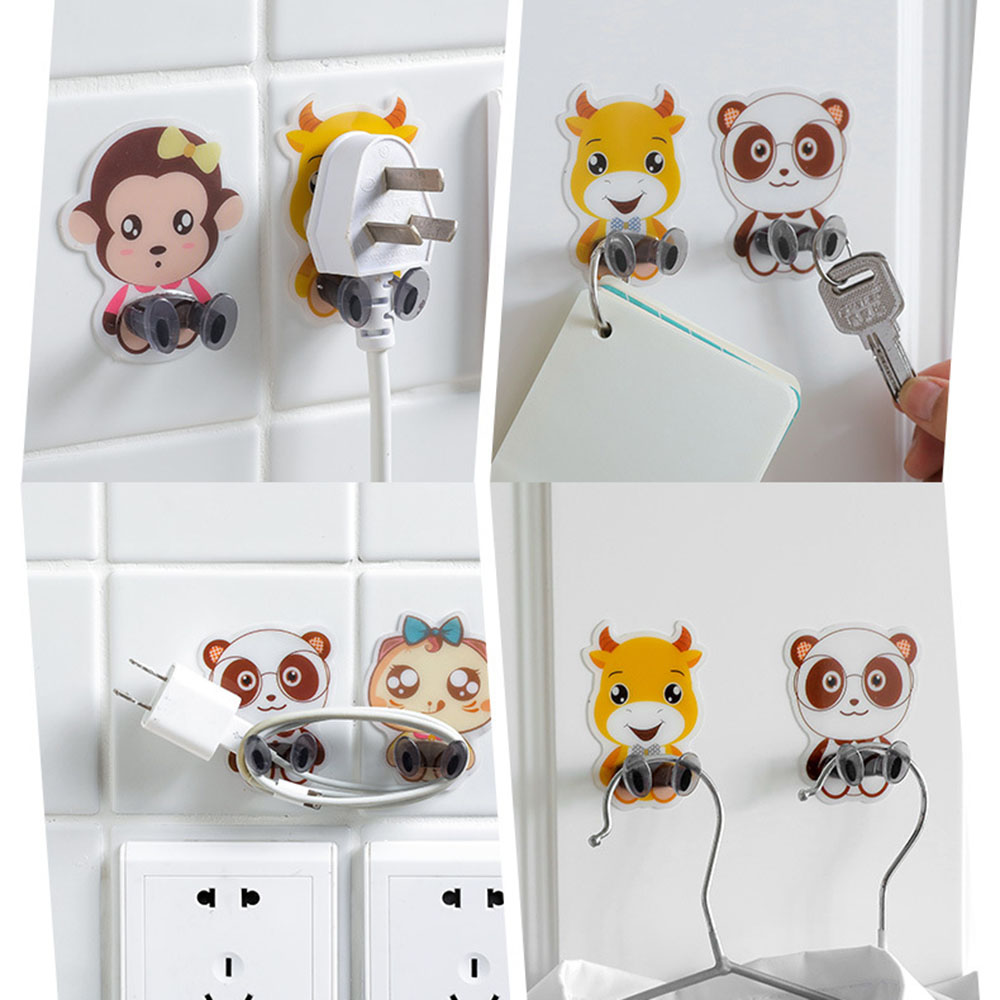 1PC Power Cord Plug Bracket Wall Mounted Cartoon Animals Adhesive Strength Shelf Hook Socket Storage Rack Holder