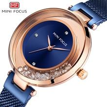 ミニフォーカス女性は高級ブランドのファッションカジュアルレディース腕時計ドレスクォーツラインストーン腕時計レディースブルー時計