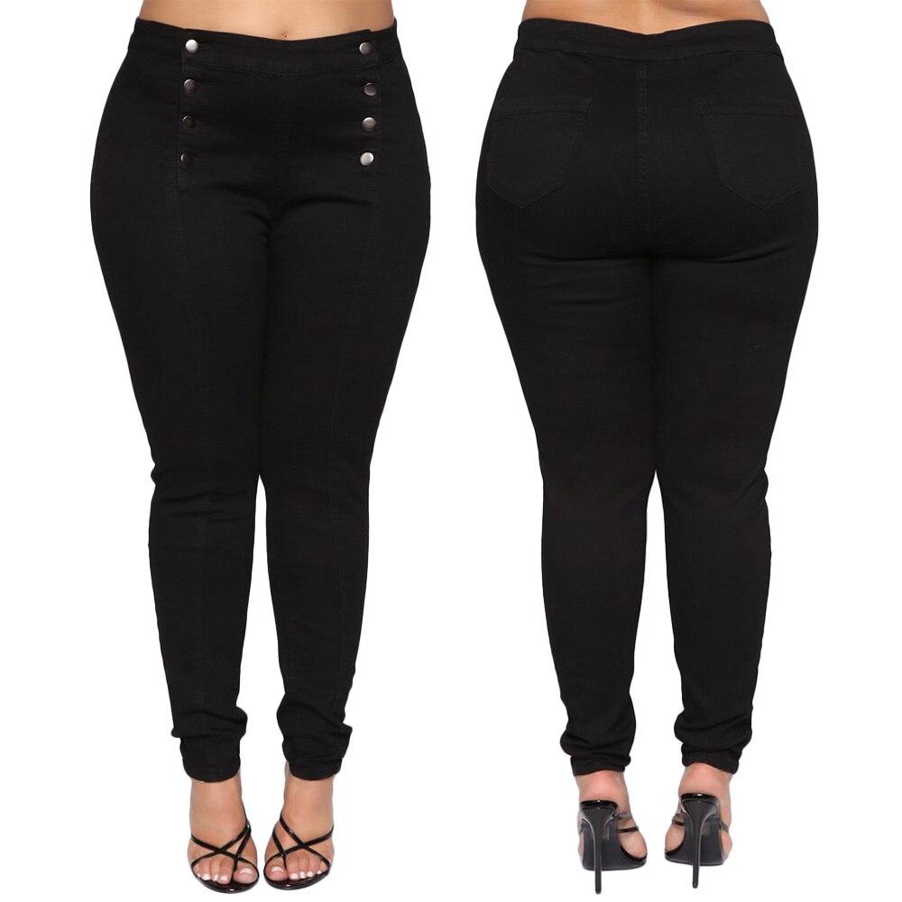 Women Jeans Denim Pants Plus Size Skinny Black Button Ladies Trousers Pencil Large Size Strech Female Jeans High Waist D40