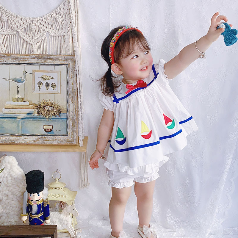 2PCS Summer Vintage Casual short Sleeve Cute Cotton A-line Dress For Bady Girls Navy Style Dress For Children's  Garments