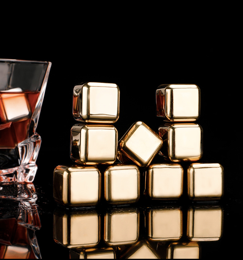 Liquor - Stainless Steel 304 Stones Ice Cubes Quick Frozen Ice Cubes Whiskey Cooler Rocks 4/6/8pcs Metal Ice Tools With Plastic Box