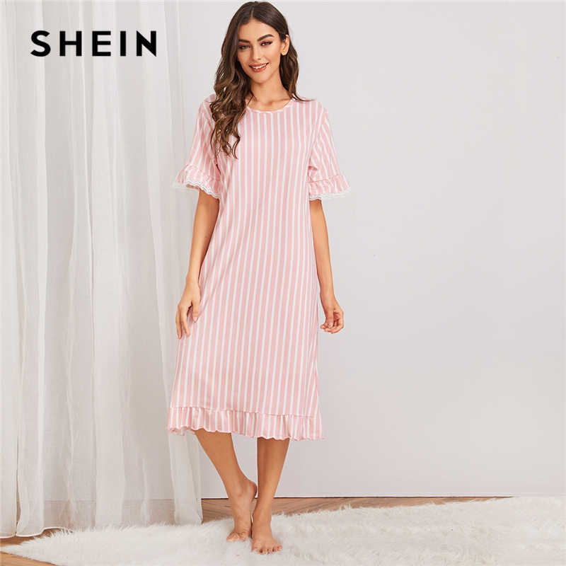 SHEIN สีชมพูลาย Contrast Trim ชุดราตรีชุดนอนสตรี 2019 ฤดูใบไม้ร่วงแขนสั้นสั้นสุภาพสตรี Ruffle Hem ชุดนอน