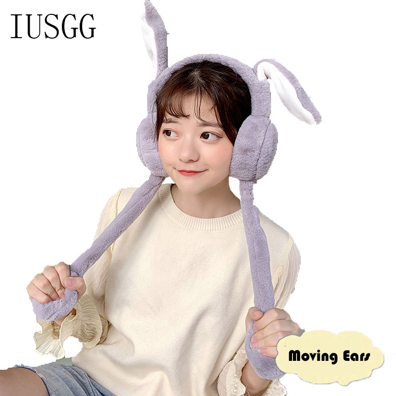 Foldable Moving Earmufuffs  With Rabbit Ear In Winter Windproof Girls Ear Warmer Plush Knitted Ear Muffs Hairy Rabbit Ear