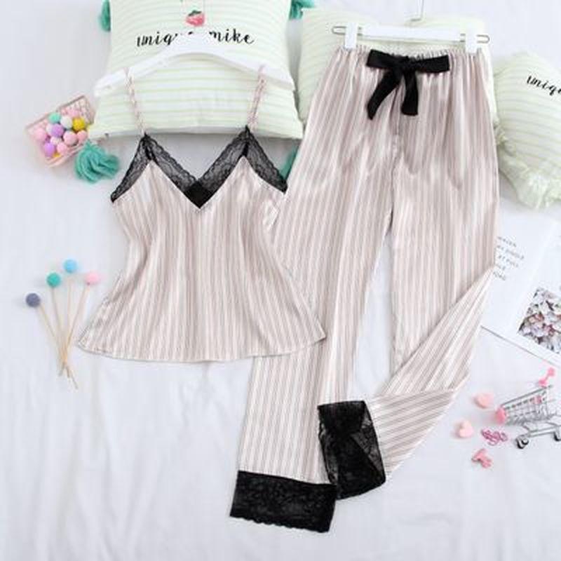 QWEEK Silk Pyjama 2 Piece Woman Pajamas Set Sexy Sleepwear Pink Top Long Pants Summer Pijama Mujer Home Clothes For Women 2020
