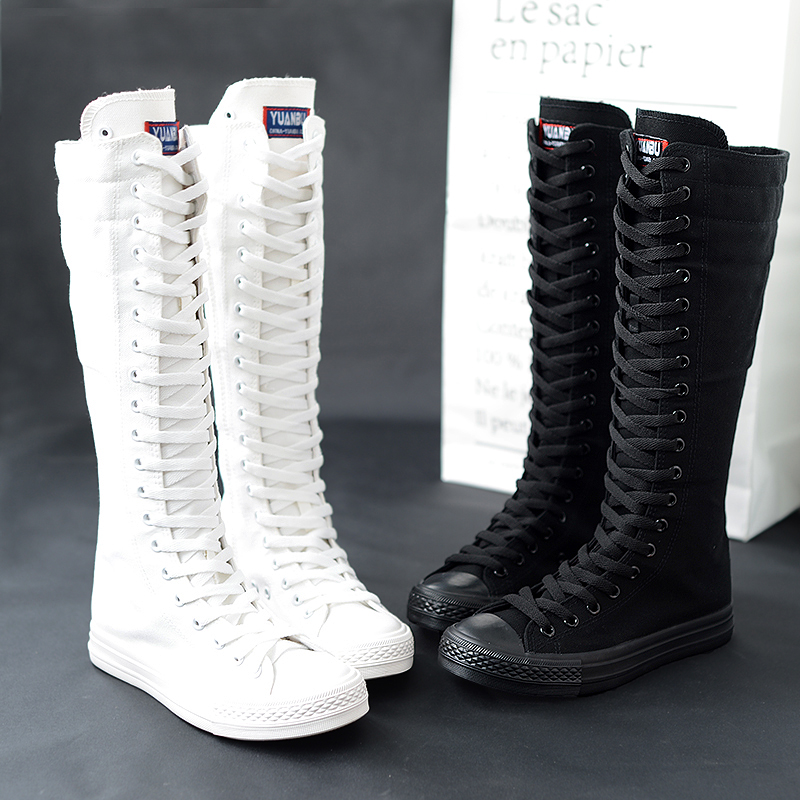 2020 Spring Autumn Women Shoes Canvas Casual High Top boots Long Boots Lace-Up Zipper Comfortable Flat Boots Sneakers Size 34-43