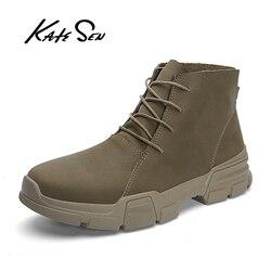 Estilo britânico dos homens do vintage botas de couro genuíno louco ao ar livre botas de outono à prova de água trabalho caminhadas inverno botas de tornozelo sapatos