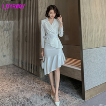 2019 early autumn new Hong Kong-style casual small suit + high waist irregular fishtail skirt two-piece