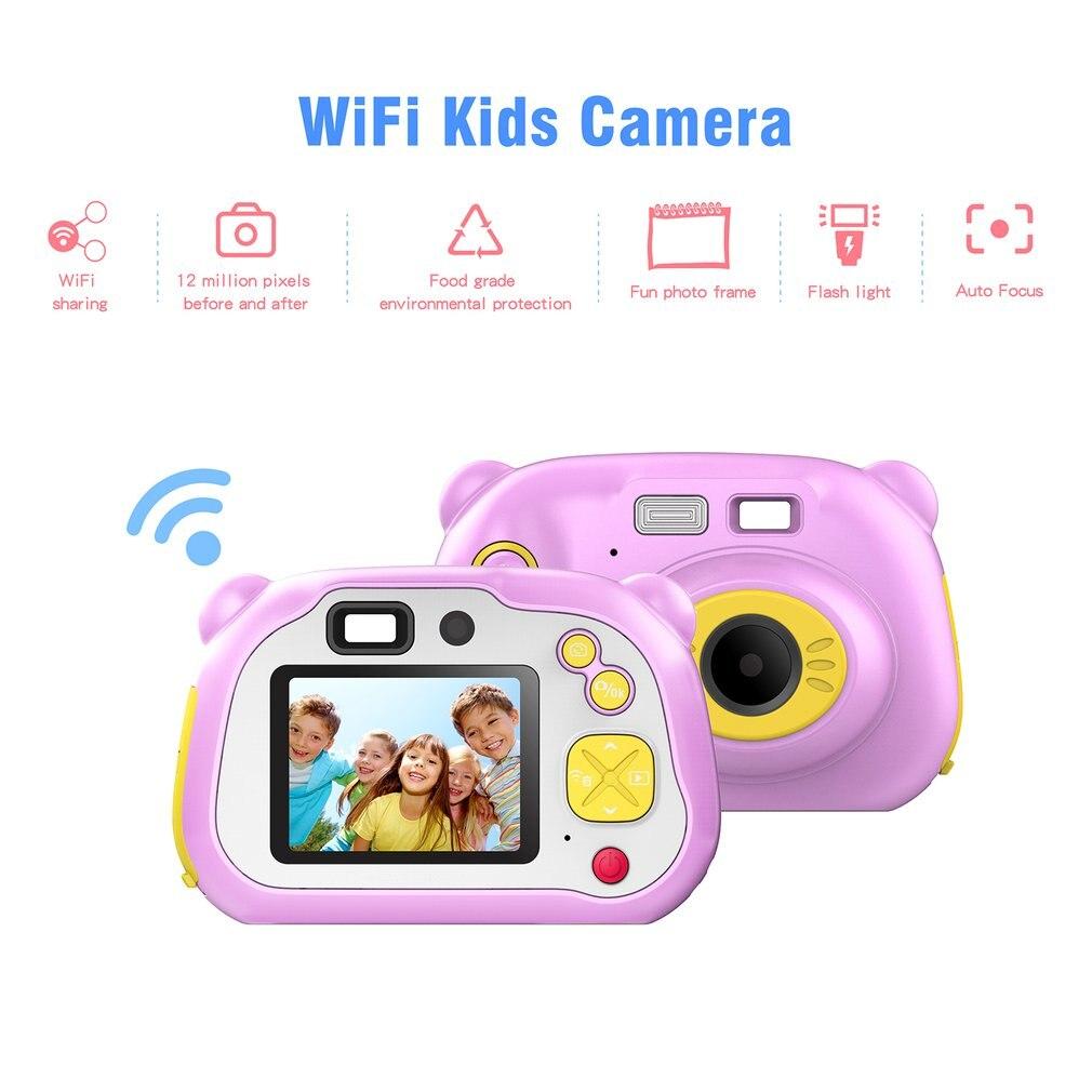 1080P FHD Auto Focus Wifi enfants caméra Mini 2 pouces dessin animé caméra numérique jouets mignons enfants cadeau d'anniversaire pour enfants caméras