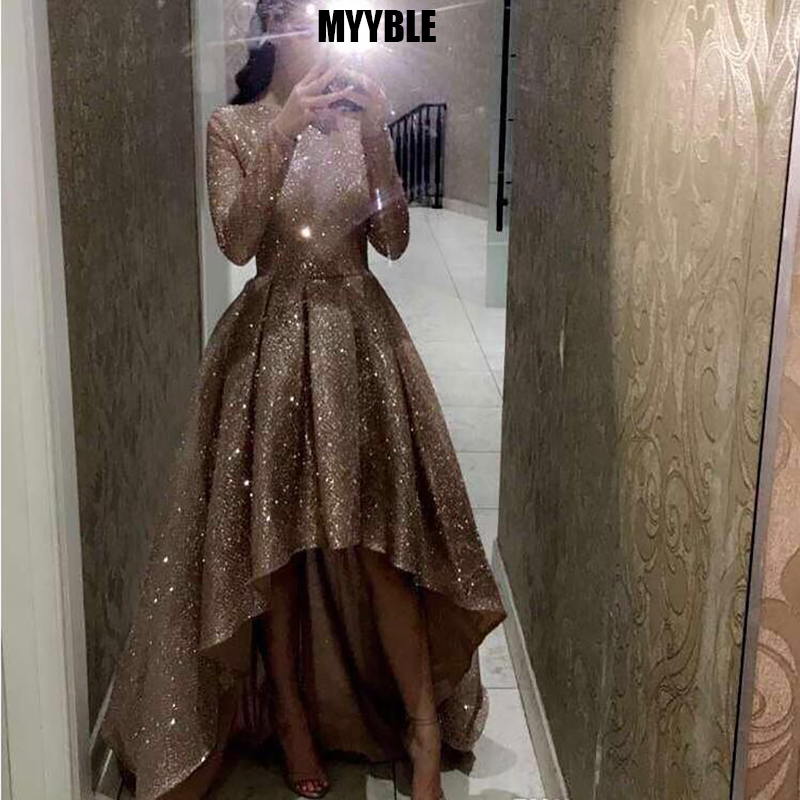 MYYBLE Reflective Long Sleeves Sequins Evening Dresses 2020 O Neck Neck Ruched High Low A Line Formal Party Prom Dresses