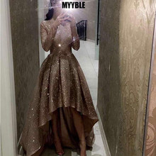 MYYBLE Reflective Long Sleeves Sequins Evening Dresses 2020 O Neck Neck Ruched High Low A Line Formal Party Prom Dresses(China)