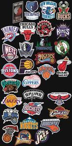 Image 5 - 32 unids/set equipo de baloncesto logotipo estándar trolley caso pegatinas etiqueta engomada impermeable graffiti de Los Lakers guerreros toros