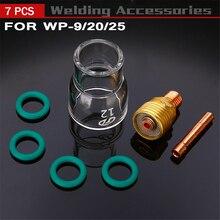 7 шт. #12 Pyrex Стекло чашки комплект Stubby корпус цанги и газовой линзы Tig 1,0/1,6/2,4/3,2 мм сварочный фонарь для Wp-9/20/25 аксессуары для сварки и резки