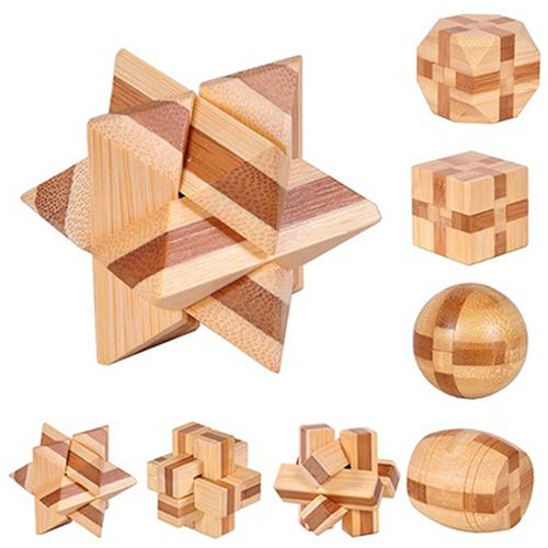 Kongming Luban Lock Kids Wooden Chinese Traditional Puzzle Toy Children Brain Teaser Games 3D Intellectual Creative Unlock Toy
