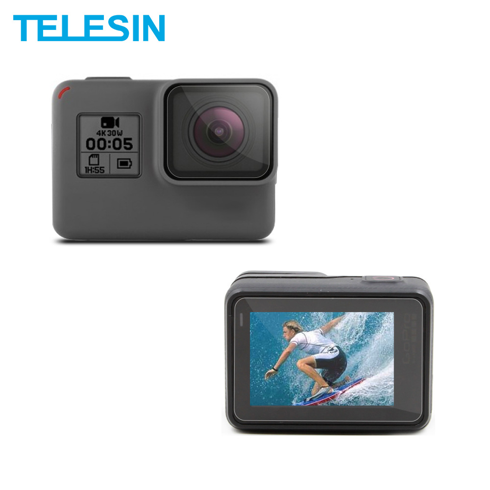 TEELSIN 6Pcs Camera LCD Screen + Lens Protectors Film Set With Clean Cloth for GoPro Hero 7 6 Hero 5 Camera Accessories