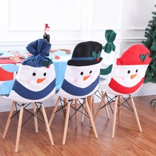 Christmasdecoration flannelette snowman family composition chair set 40*58cm Christmas household articles decoration cover