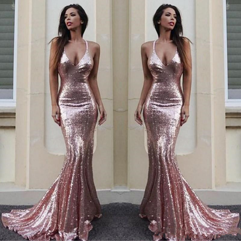 Rose Gold Sequins Mermaid Bridesmaid Dresses 2020 Sexy Halter Backless Sweep Train Maid Of Honor Wedding Guest Dress Junior