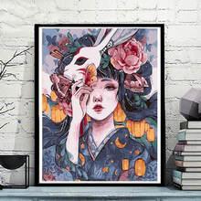 Японского аниме Рисунок девушка Краски по номерам diy Цветной